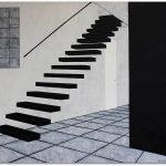 Frits Stiemer, naar boven, going upstairs, Dutch painter, corridor, schilderen met acrylverf
