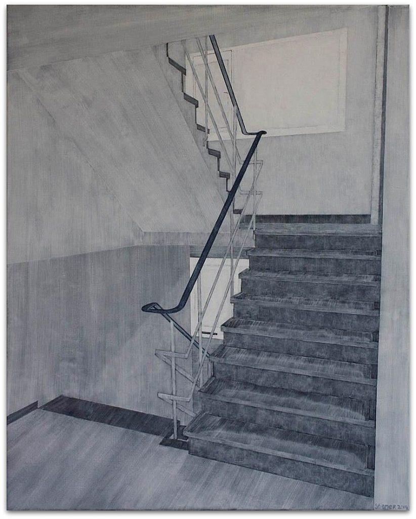 Frits Stiemer, Dutch painter, Portiek, Veenendaal, schilderen met acrylverf, PWA park, flatgebouw en kunst