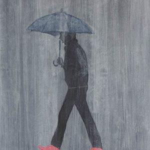 frits stiemer, regen, paraplu, wandelaar, kunst, art, stijl,