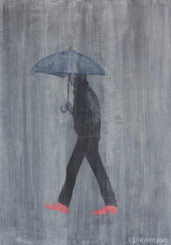 frits stiemer, dutch painter, regen, paraplu, wandelaar, kunst, art, stijl,