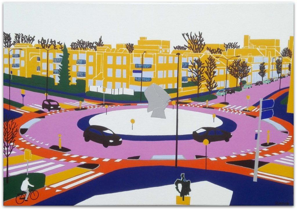 Frits Stiemer, Dutch painter, schilderen met acrylverf, veenendaal, zandstraat, weverij, rotonde,