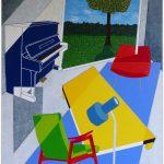 frits stiemer, dutch painter, interior design, interieur, huiskamer, piano, kunst, acrylverf, linnen, art
