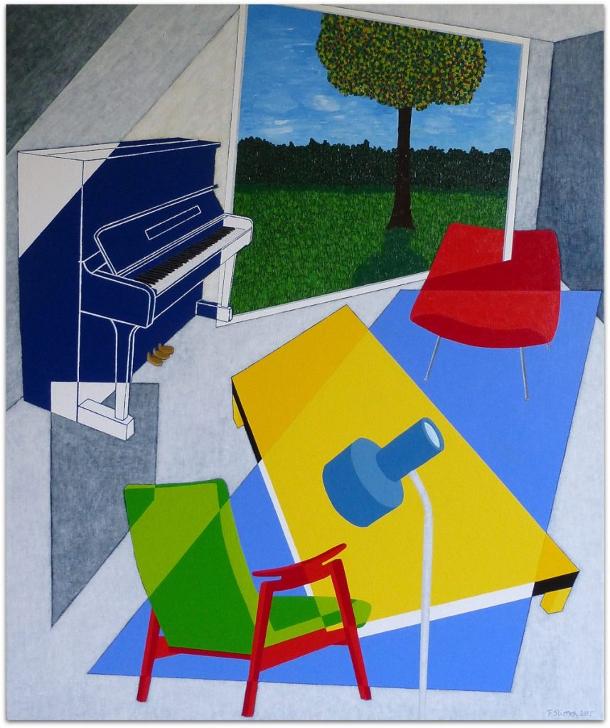 frits stiemer, dutch painter, interior design, interieur, huiskamer, piano, kunst, acrylverf, linnen, art