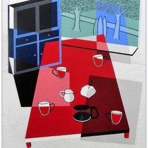 frits stiemer, modern, kubisme, kunst, art, koffie, kopjes, suiker, interior design, interieur, huiskamer, dutch painter, acrylverf, linnen