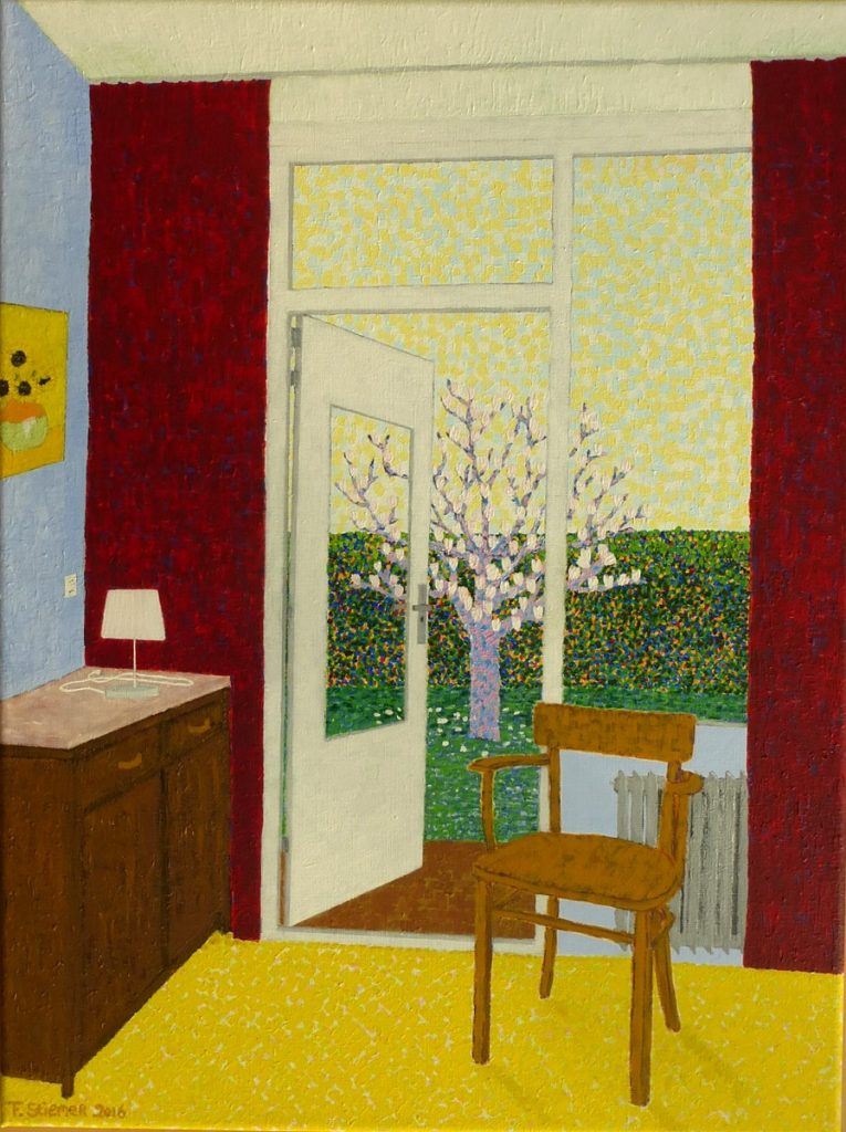 frits stiemer, room with a view, dutch Painter, studiewerk, interieur, acrylverf, linnen,
