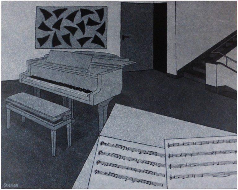 Hal met piano en bladmuziek